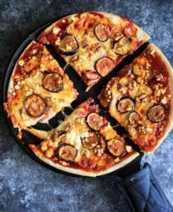 Honey Fig Pizza with Feta Cheese and Walnuts - sweet spin on pizza night!