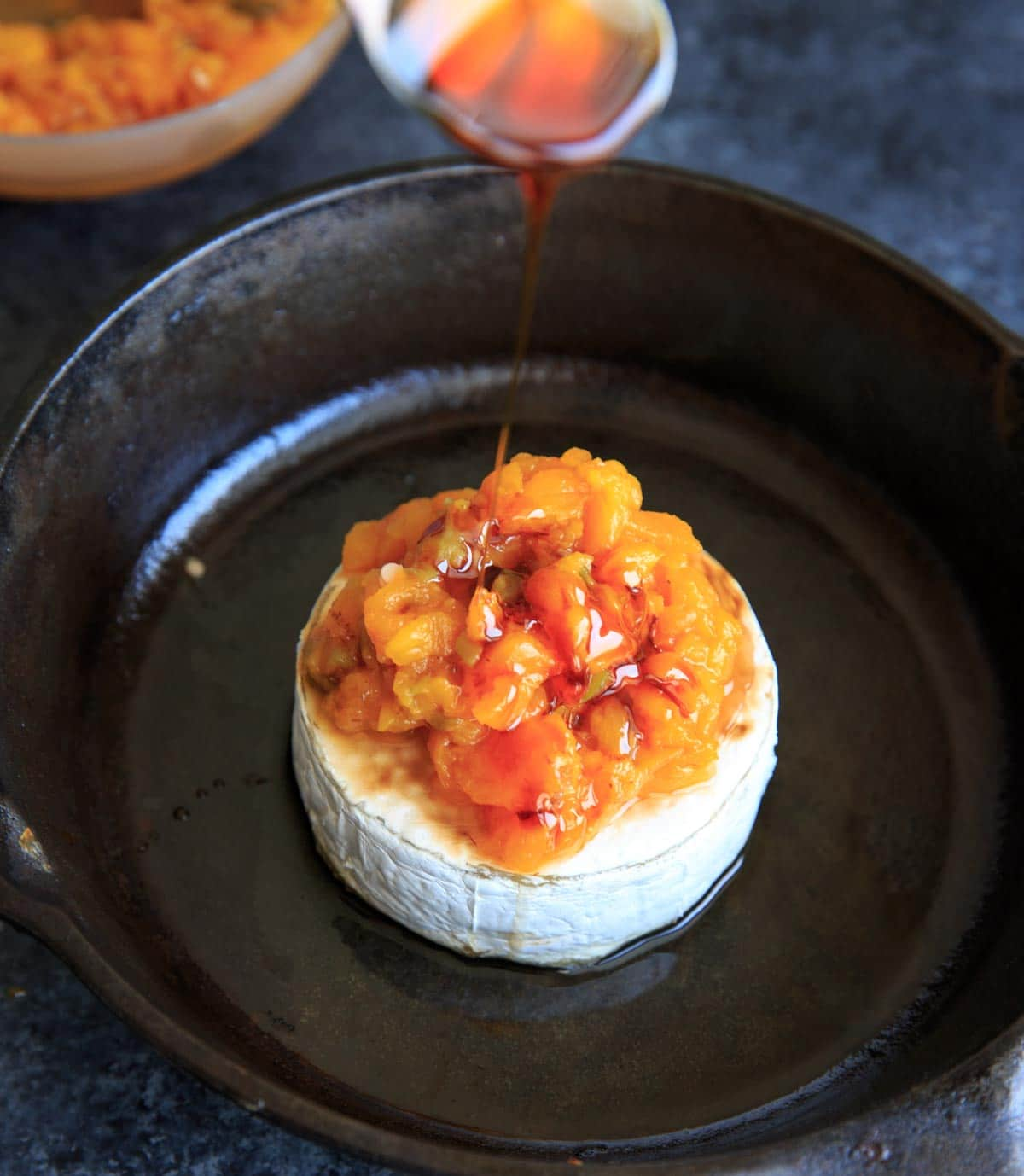 Peach Jalapeno Honey Baked Brie - adding honey