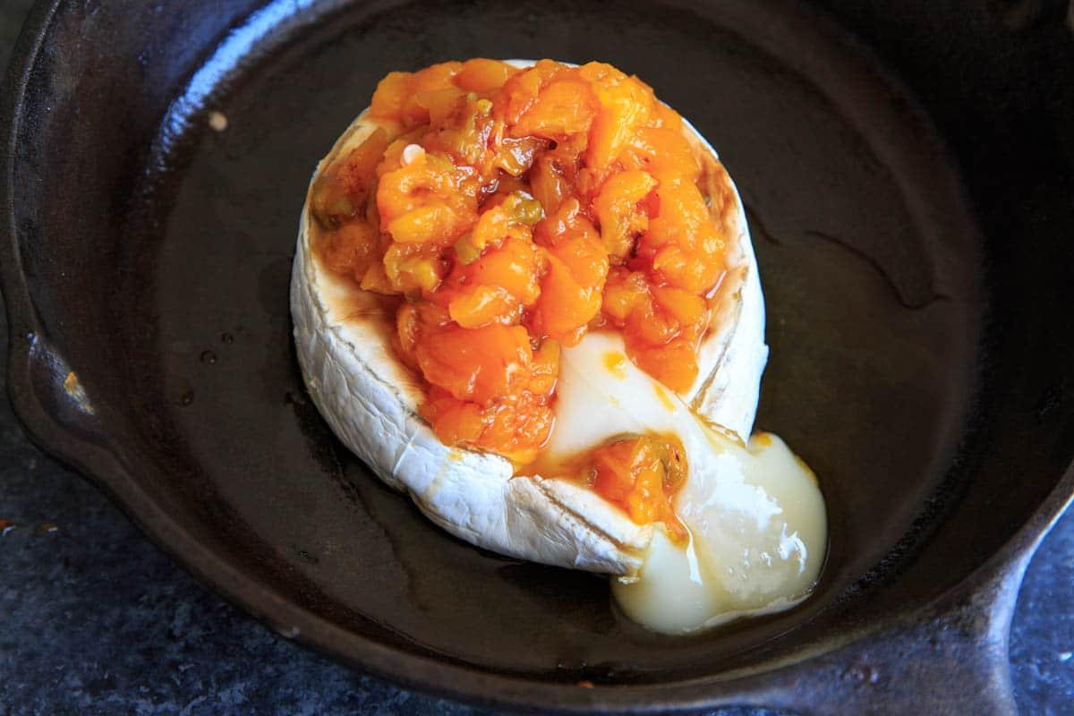 Peach Jalapeno Honey Baked Brie - brie melting