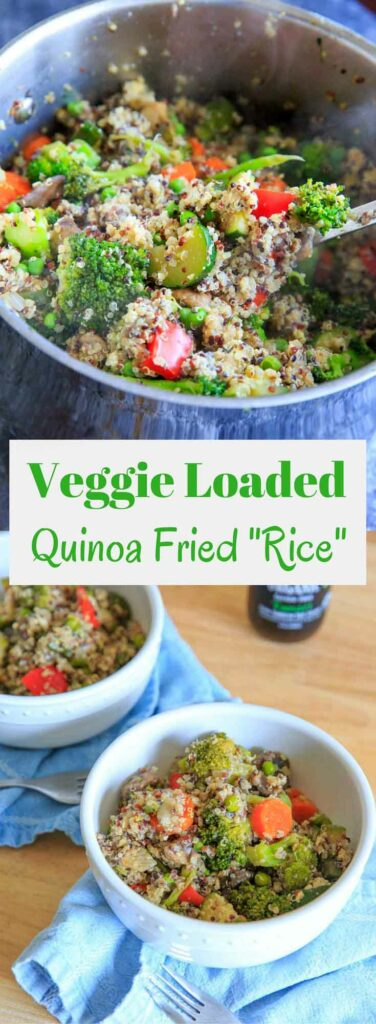 """Veggie Loaded Quinoa Fried """"Rice."""" A delicious gluten-free, vegetarian dinner full of vegetables and flavor!"""