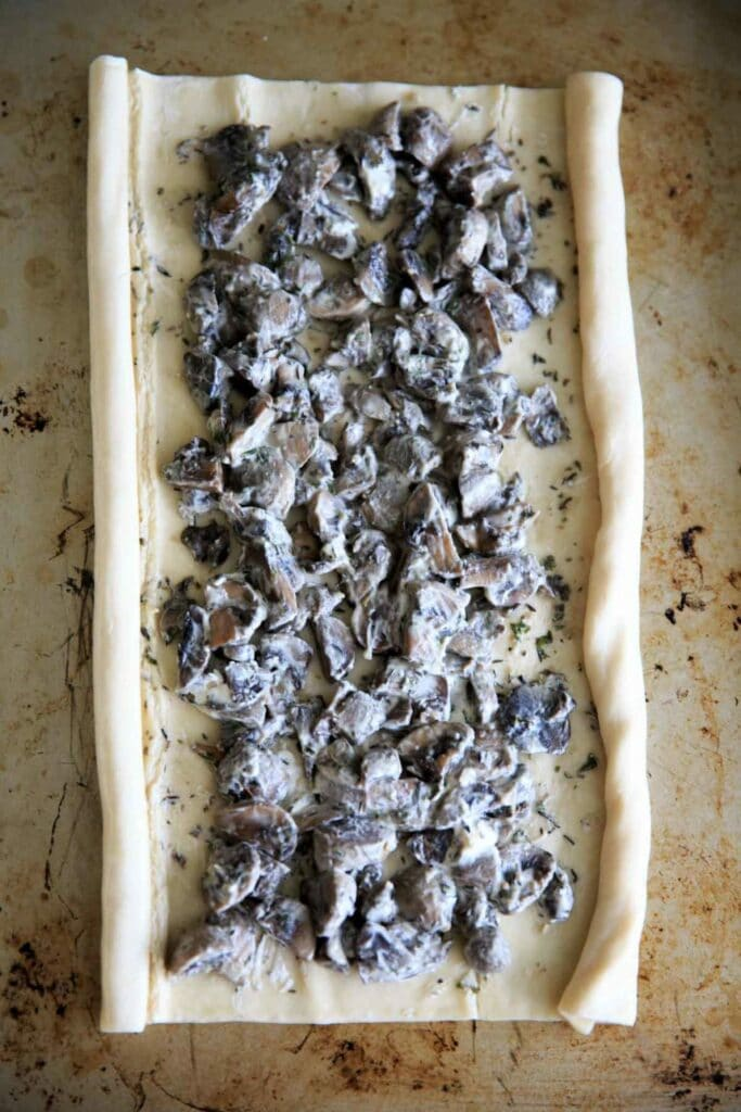 Making mushroom palmiers in puff pastry