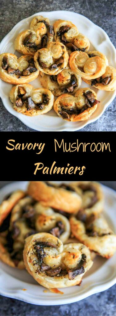 Savory Mushroom Palmiers.  A savory version of the puff pastry treat that can be served as a delicious appetizer or side. Especially great for holidays or dinner parties!