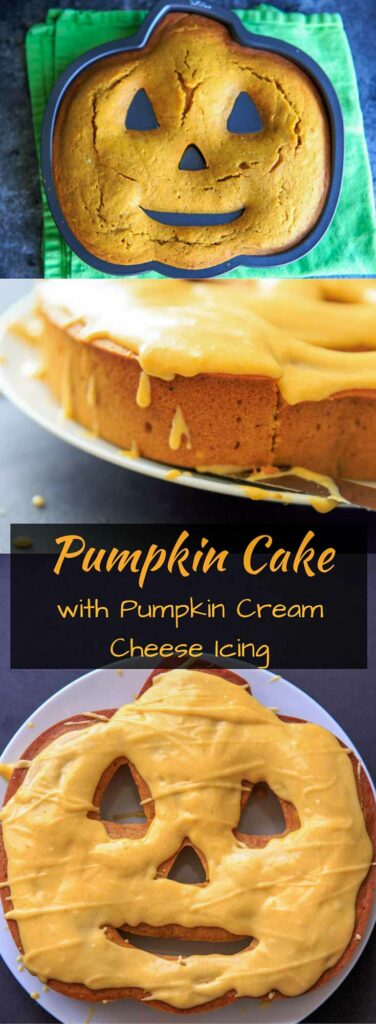 Pumpkin Cake with Pumpkin Cream Cheese Icing. Perfect for Halloween or a Fall sweet treat!