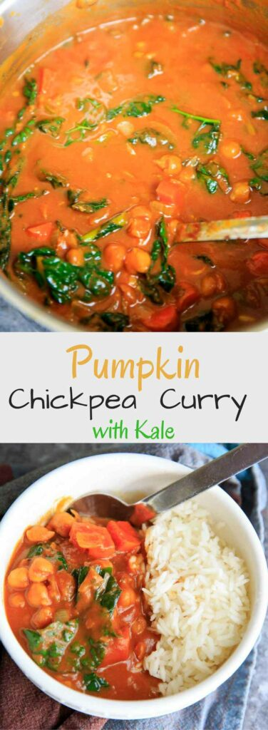 Pumpkin Chickpea Curry with Kale, served with rice or quinoa. It's a hearty vegan and gluten-free meal perfect for the colder months!