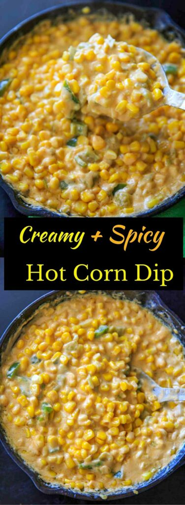 Stove-Top Creamy Spicy Hot Corn Dip makes a great appetizer for parties or game day, and is ready in 15 minutes with only 6 ingredients. Addicting and delicious!
