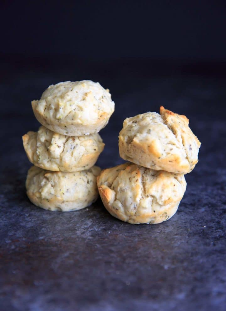 One bowl Vegan Herb Drop Biscuits. Perfect with soup, easy to throw together.
