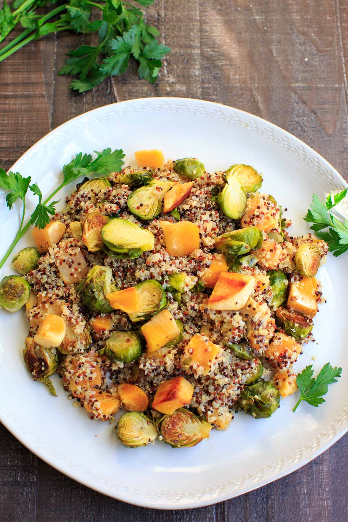 Fall Quinoa Salad with Brussels Sprouts and Butternut Squash