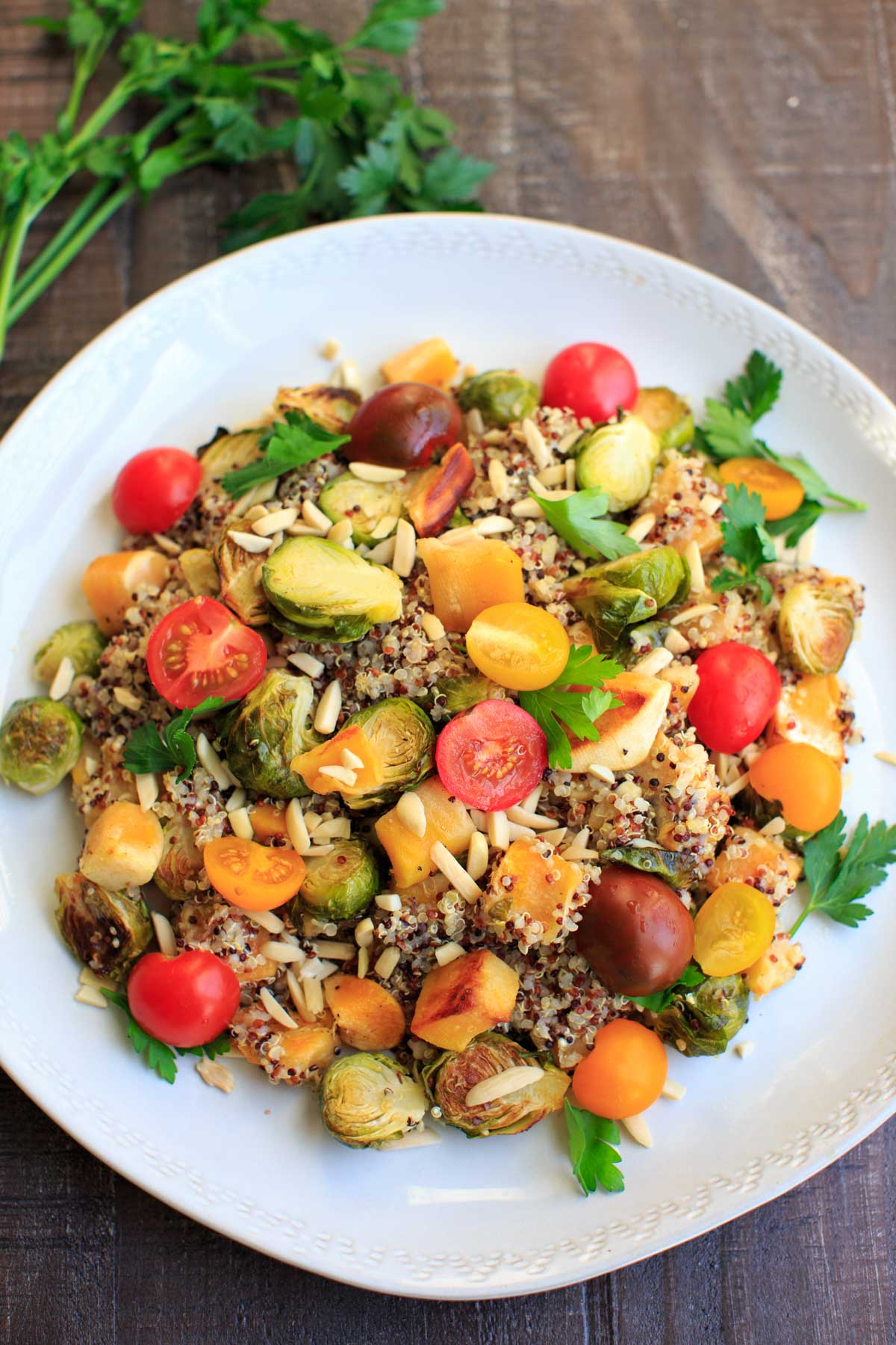 Fall Quinoa Salad with Brussels Sprouts, Butternut Squash and Parsley