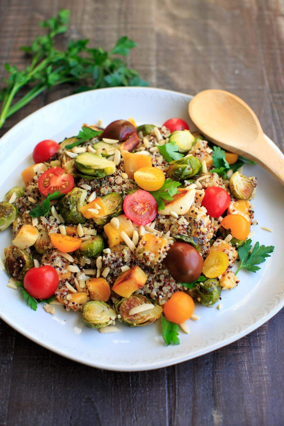 Fall Quinoa Salad with Brussels Sprouts, Butternut Squash, Tomatoes and Parsley