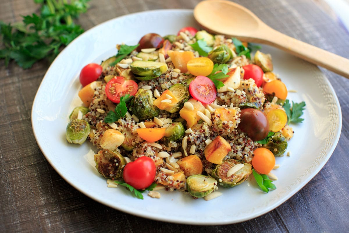 Fall Quinoa Salad with Brussels Sprouts, Butternut Squash, Tomatoes, Almonds and Parsley