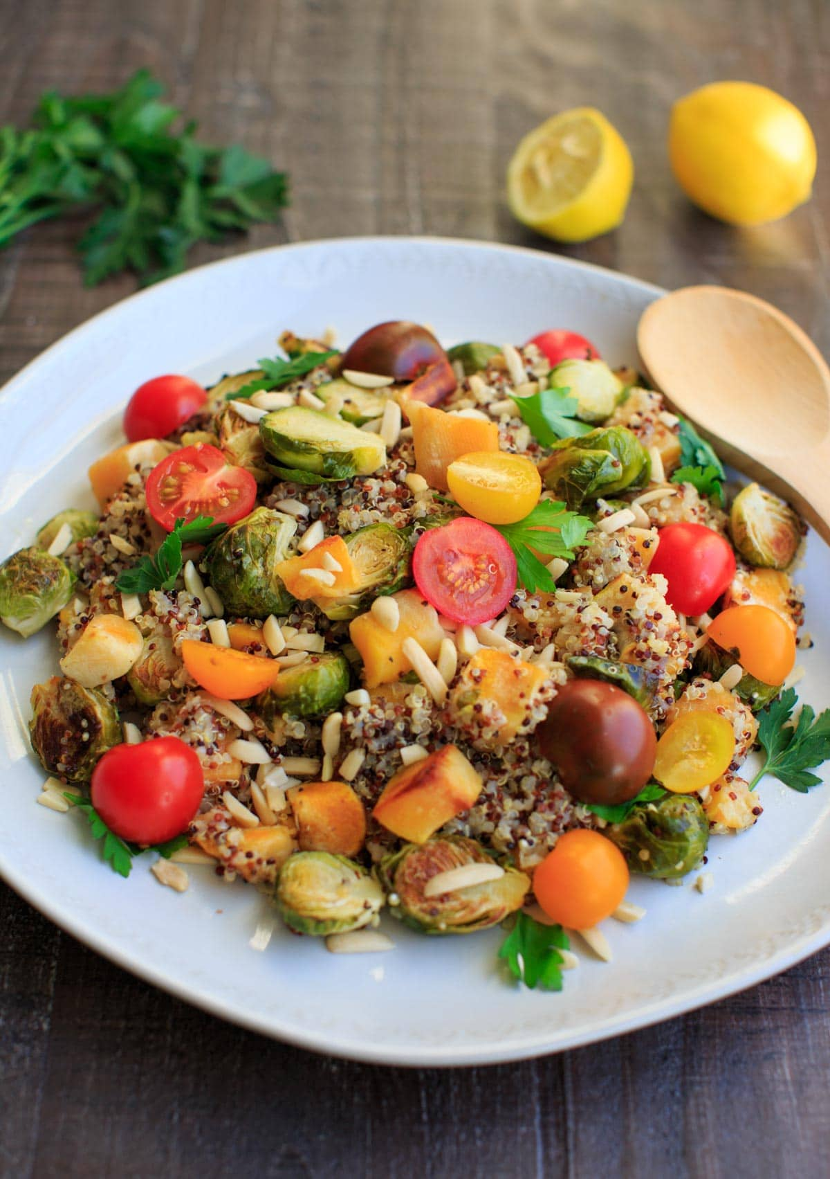 Fall Quinoa Salad with Brussels Sprouts, Butternut Squash, Tomatoes, Almonds, Lemon and Parsley