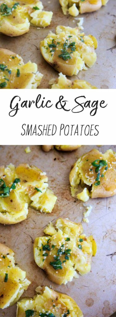 Garlic Sage Smashed Potatoes are a great side item at your dinner table. A customizable version of mashed potatoes that everyone will love. Vegan friendly, gluten-free.