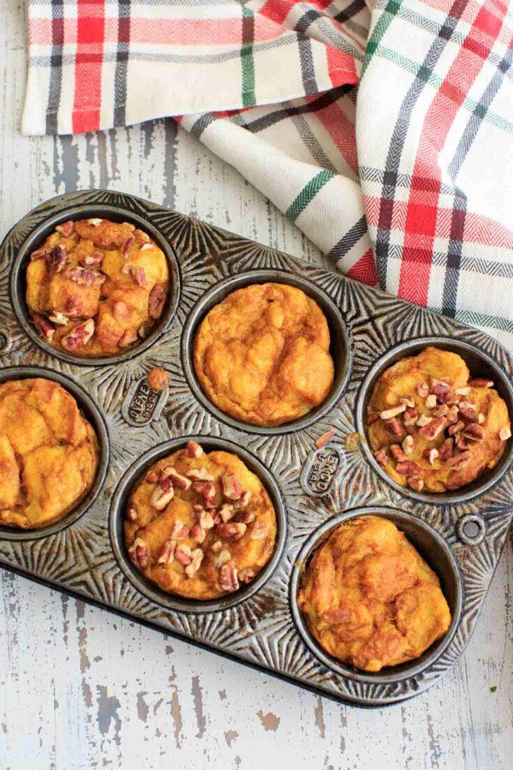 Pumpkin French Toast Muffin Cups in muffin tin
