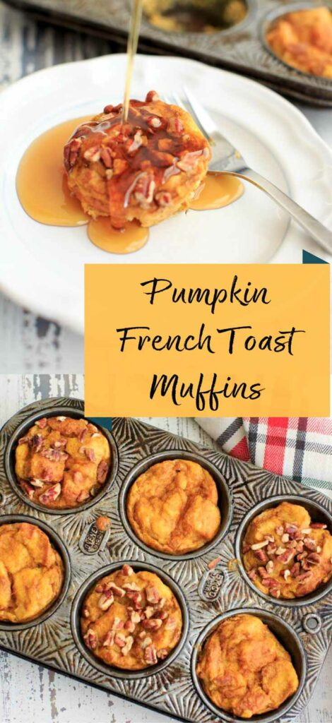 Pumpkin French Toast Muffin Cups are a great make-ahead breakfast for the colder months. All the best Fall flavors with cinnamon, pumpkin and pecans.