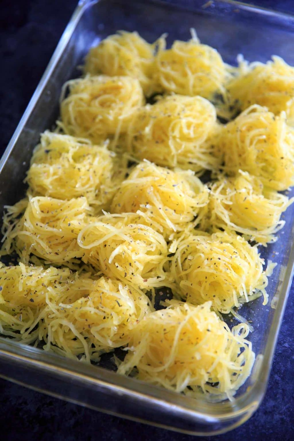 Spaghetti squash seasoned with olive oil, salt and pepper