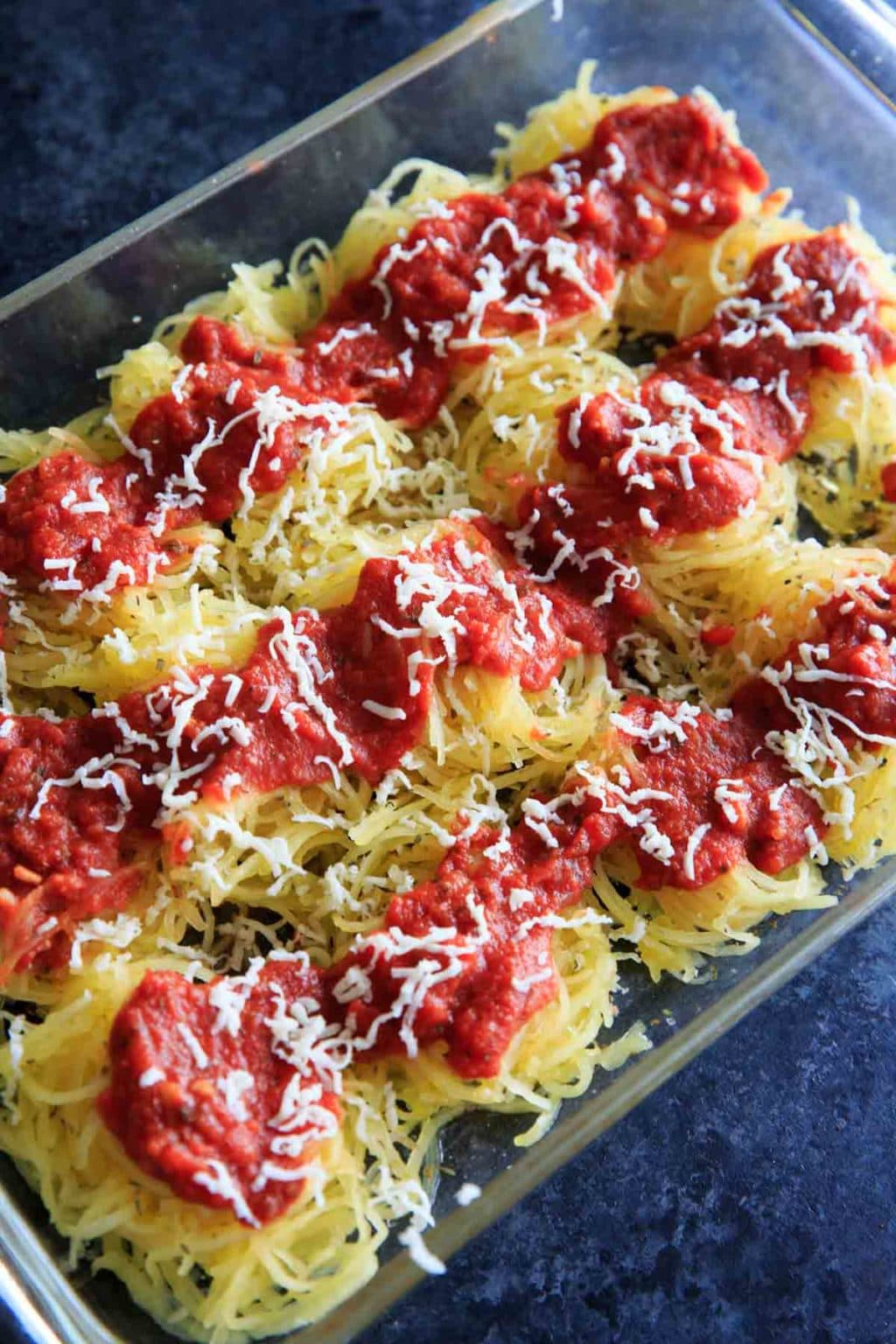 Spaghetti squash with sauce and cheese