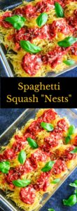 Spaghetti Squash Nests garnished with fresh basil are the perfect dinner appetizer for your guests or casserole-style dinner for your family. Customizable and delicious! Vegan-friendly and gluten-free.