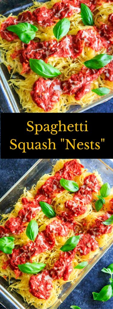 Spaghetti Squash Nests garnished with fresh basil are the perfect dinner appetizer for your guests or casserole-style dinner for your family. Customizable and delicious! Vegan-friendly and gluten-free. #vegan #spaghettisquash #squash #vegetarian #glutenfree