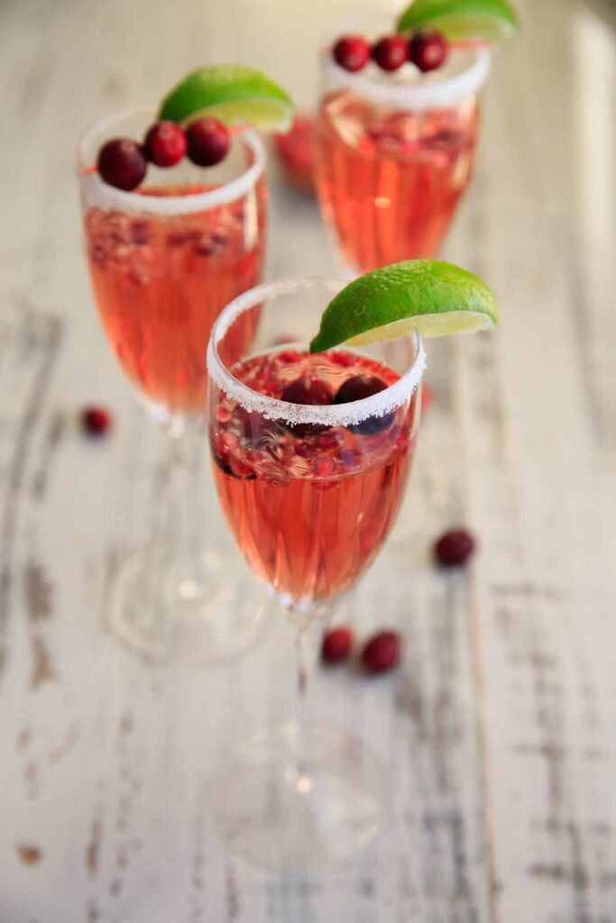 Cranberry Pomegranate Punch Cocktail with Voveti Prosecco
