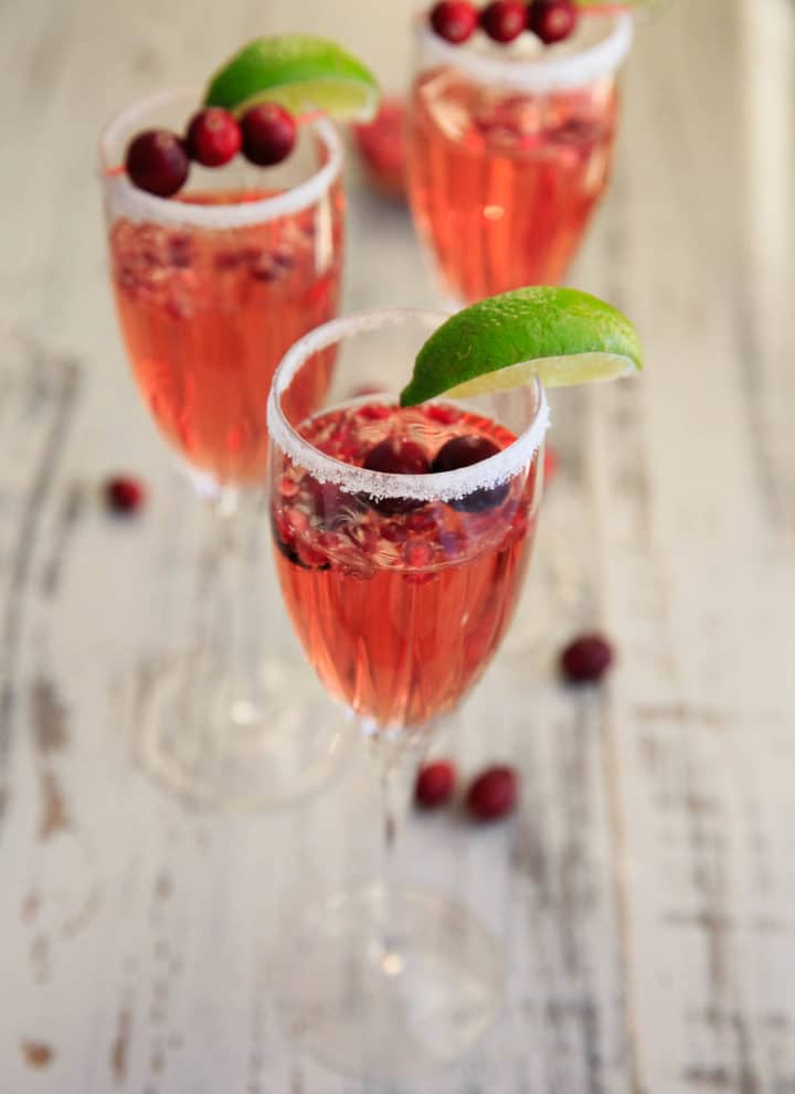 Cranberry Pomegranate Prosecco Cocktail