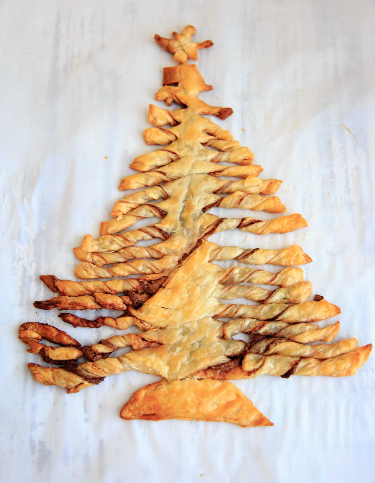 The Nutella and peanut butter puff pastry Christmas tree dessert, after baking