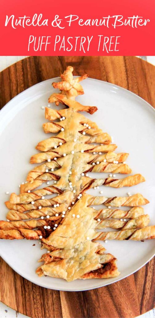 A Christmas-tree shaped dessert made with puff pastry, Nutella and peanut butter. Perfect for sharing at parties, super easy to make and only 3 ingredients.