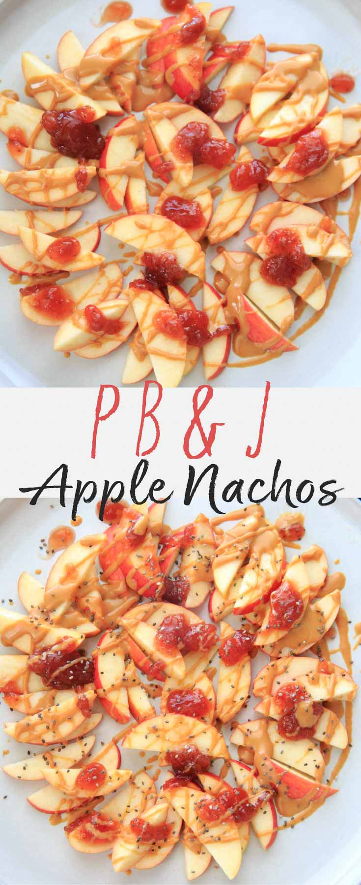 This peanut butter jelly combo on apple nachos is the perfect quick and healthy snack for kids and adults alike! Vegan, gluten-free, protein-packed, no-bake delicious treat.