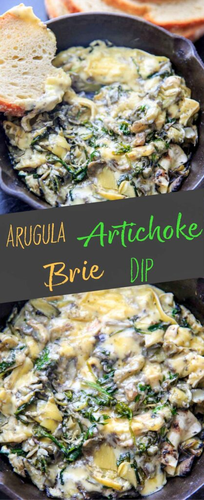 Arugula (or spinach) and artichoke brie dip, made in a cast iron skillet. A delicious and unique appetizer!