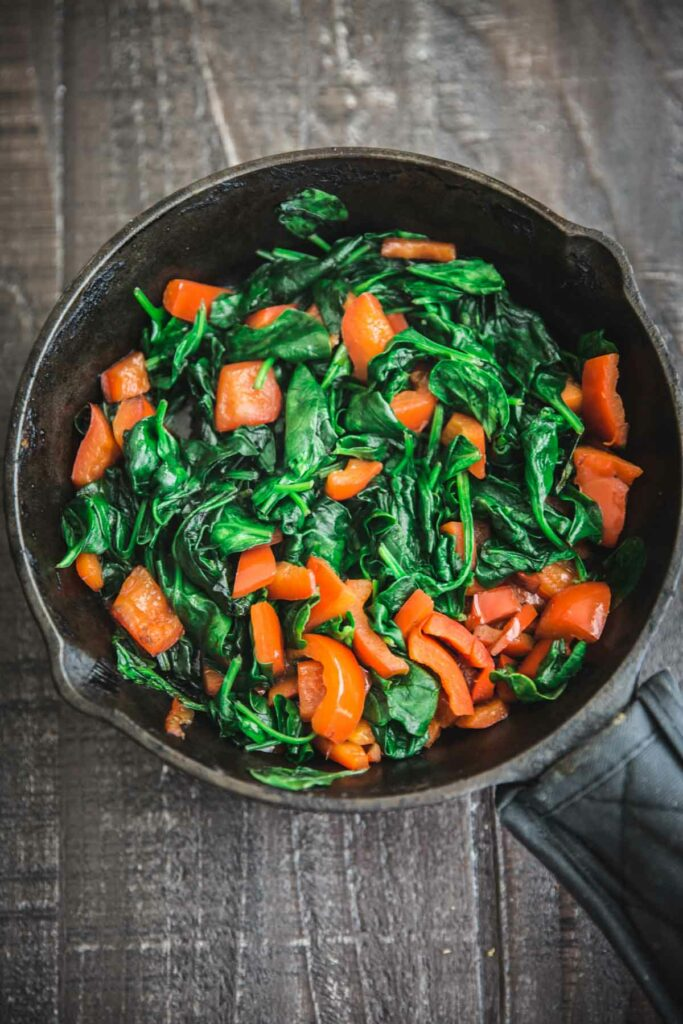 sauteed spinach and bell pepper for the Spinach Ricotta Crescent Wrap recipe