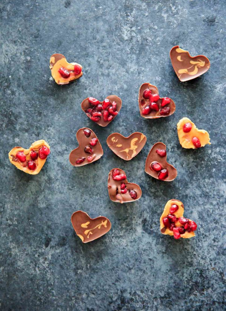 Heart Shaped Chocolate Pomegranate Candies – 3 ways