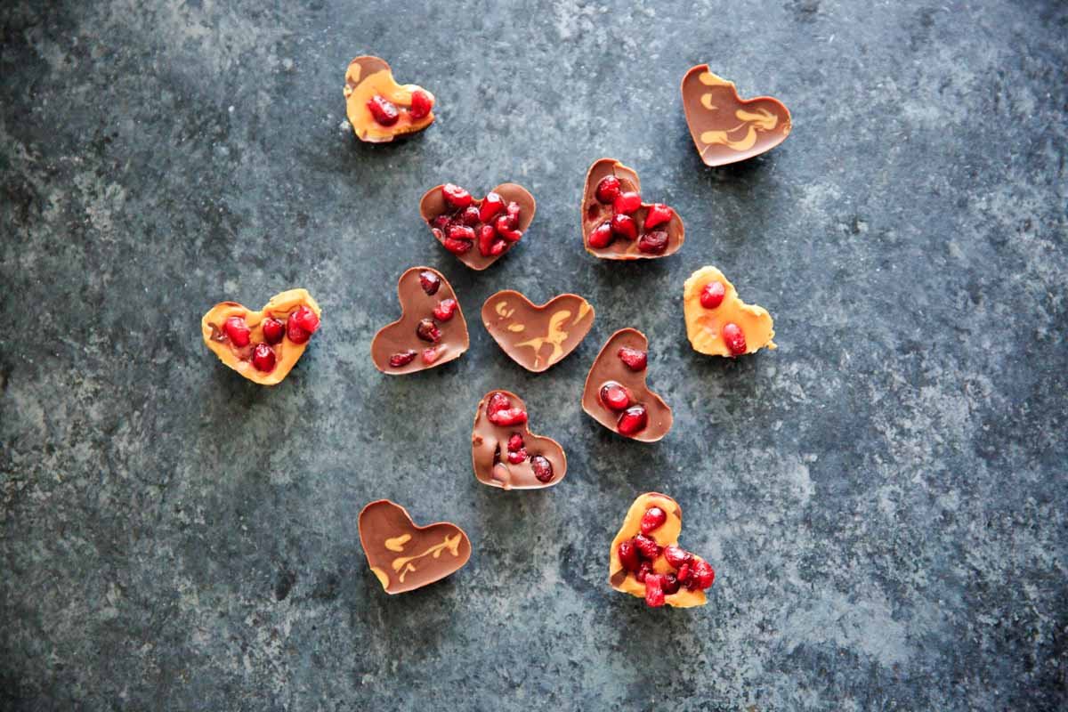 Chocolate Pomegranate Candy Recipe - all the heart shaped bites together, chocolate, peanut butter and pomegranate