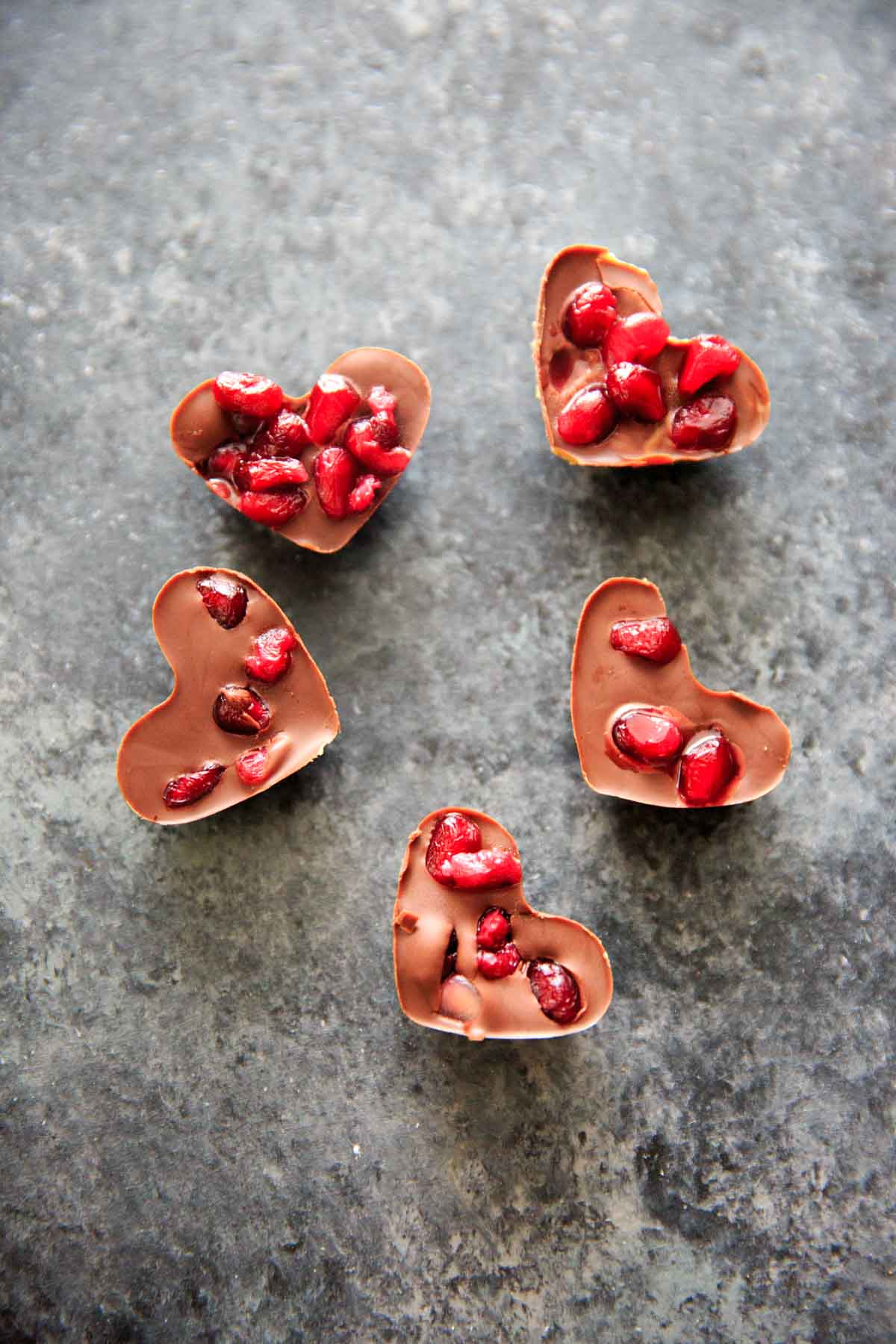 Chocolate Pomegranate Candy Recipe - chocolate pomegranate heart shaped candy bites