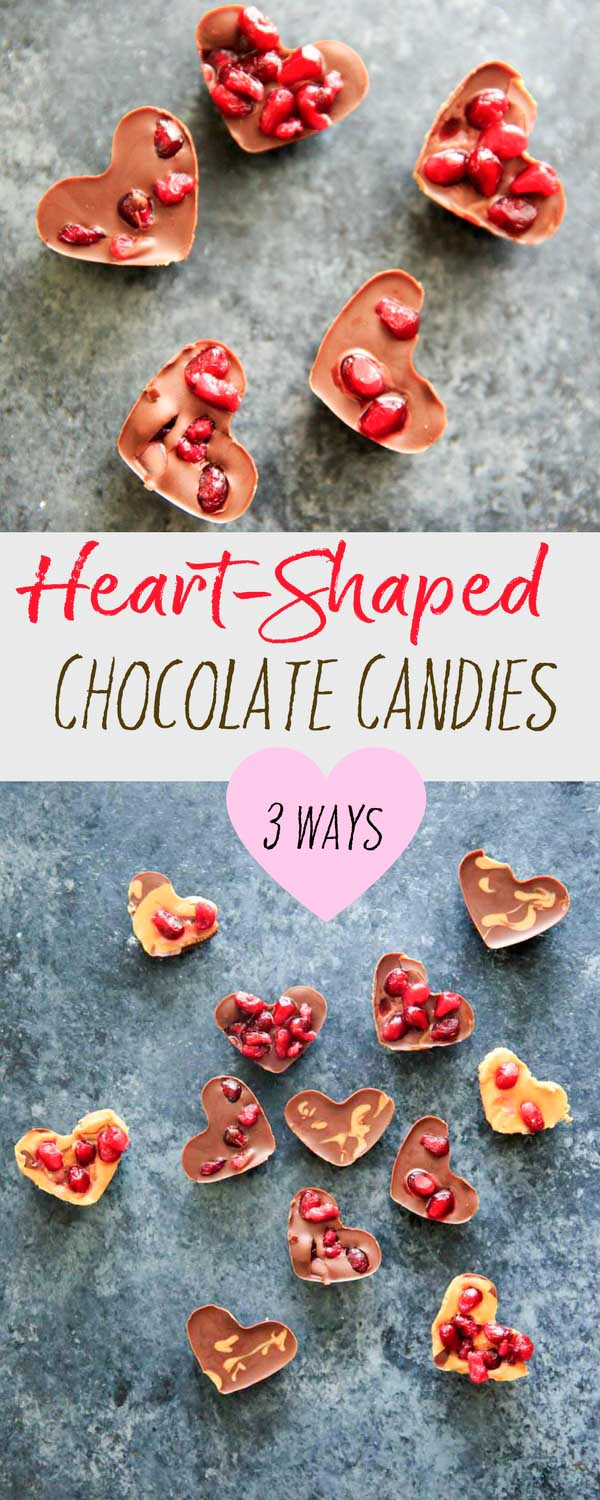 The easiest little no-bake heart shaped chocolate pomegranate candy bites, with three options for mixing up the flavors. Vegan friendly, gluten free, delicious and perfect for your Valentine.