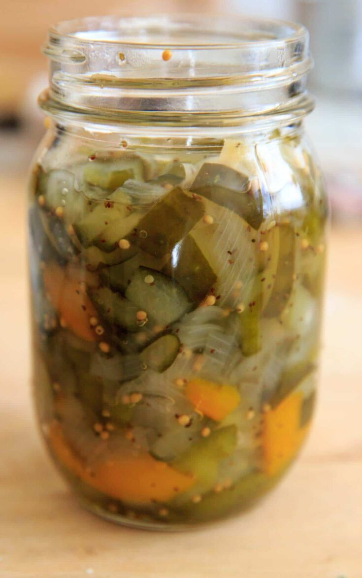 Homemade Sweet Pickle Relish Recipe - in jar