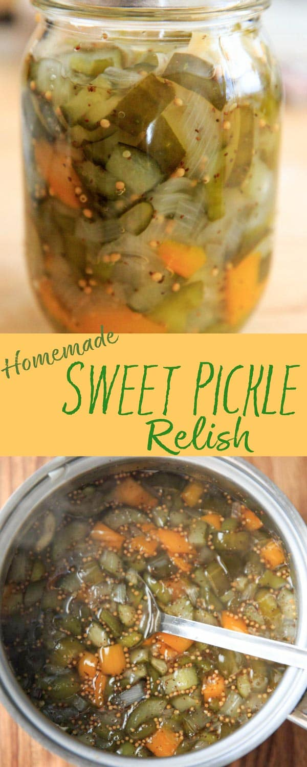How to make your own homemade sweet pickle relish. After a bit of soaking time you'll have a super easy, tasty and customizable relish topping for sandwiches, deviled eggs and more!