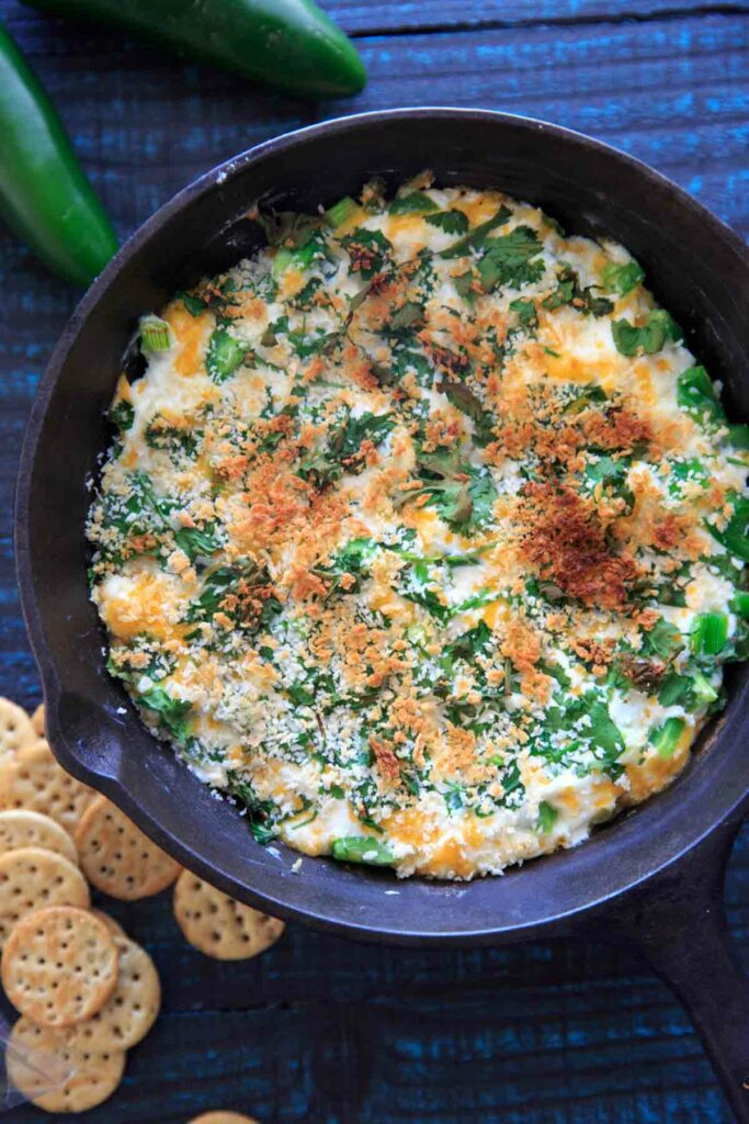 Jalapeno Popper Dip in a cast iron pan
