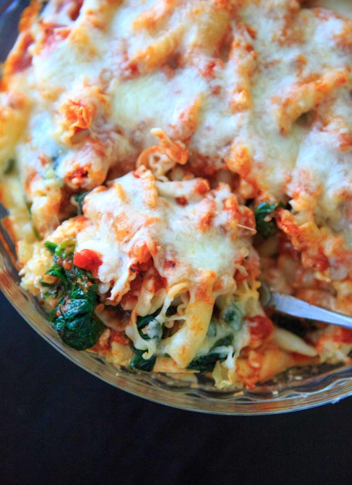 Spinach Baked Ziti Recipe - A meatless pasta casserole with greens that is sure to be a family favorite! Adapted from my grandma's baked ziti recipe and scaled down to 4 (generous) servings.