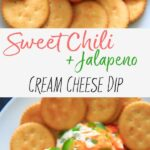 Sweet Chili Cream Cheese Dip. A super easy, 4 ingredient cheese ball appetizer that is perfect for a party snack or shareable dip. Sweet and spicy and delicious!