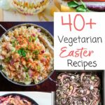 A list of vegetarian Easter recipe ideas for your holiday family brunch or gathering. From carrots to hard boiled eggs, to breads and even vegan desserts, you're sure to find something you like in this list!