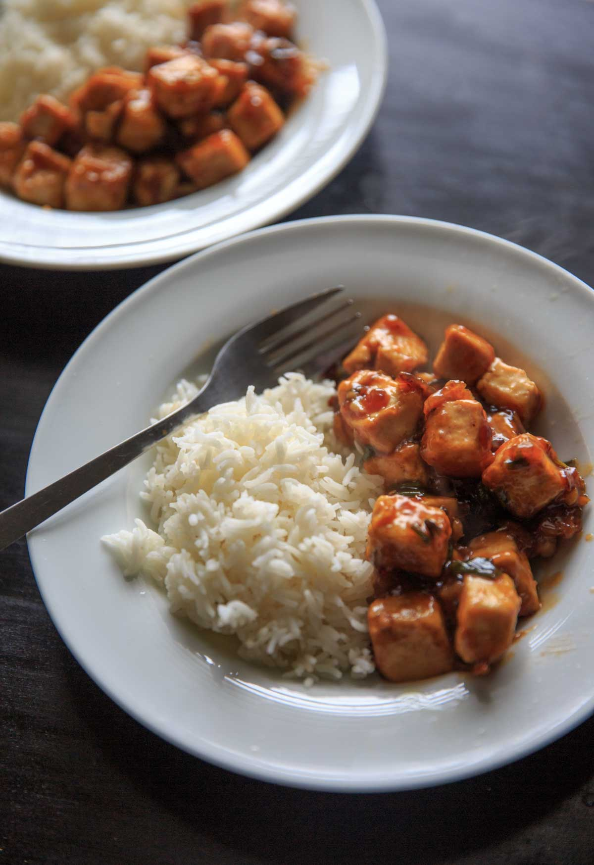 General Tso's Tofu from the Chloe Flavor Cookbook - serve with rice or quinoa and top with sesame seeds