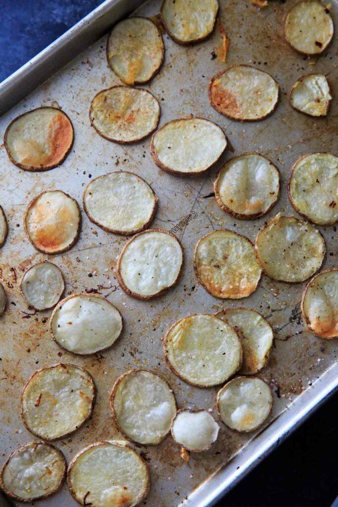 Irish Pub Potato Nachos - baking the sliced potatoes