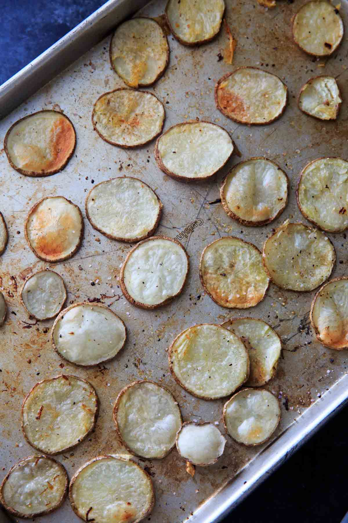 Irish Pub Potato Nachos - baking the sliced potatoes