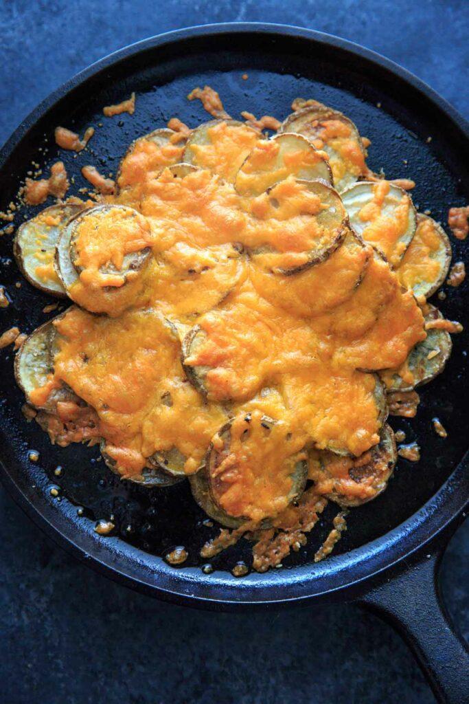 Irish Pub Potato Nachos Recipe - potato slices with cheddar cheese