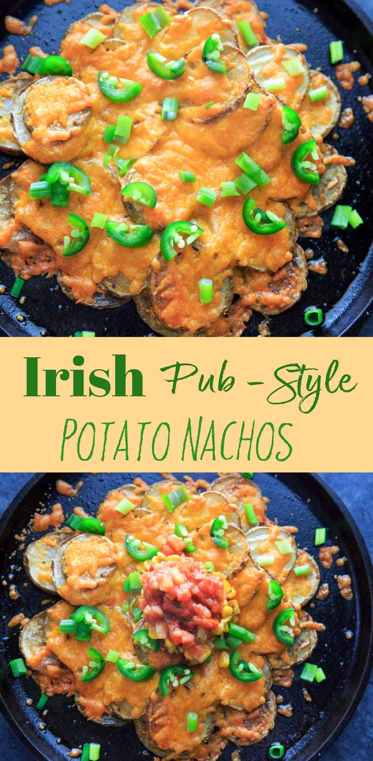 Irish Pub Potato Nachos topped with cheddar cheese and all your favorite toppings. For celebrating St. Patrick's Day or any day with a twist on this appetizer staple!
