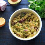 Smashed Avocado and Chickpea Salad in a bowl: picture with ingredients laid out