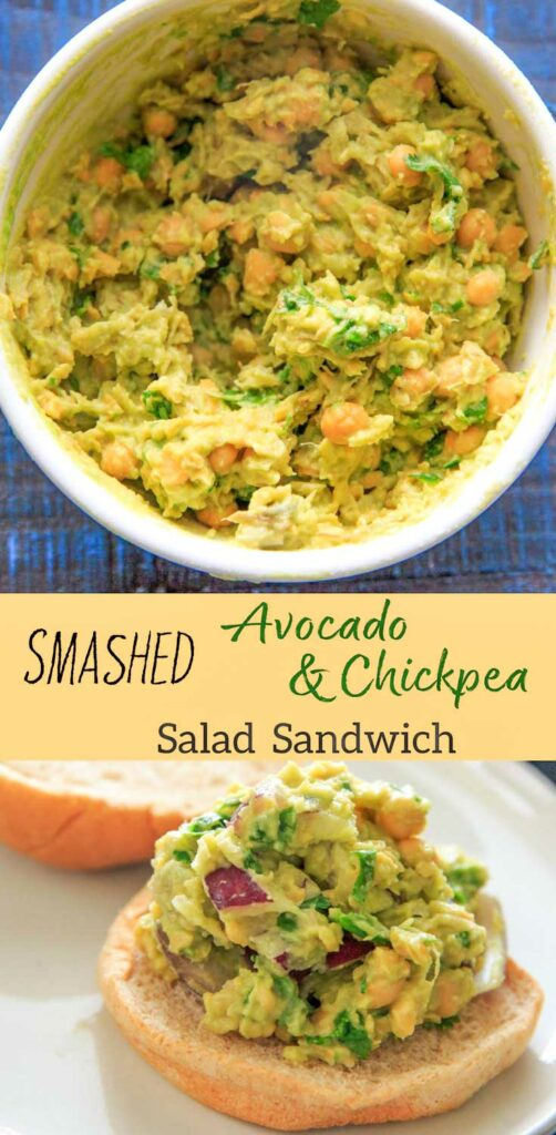 This Smashed Avocado and Chickpea Salad Sandwich is an easy vegan recipe to throw together for a healthy lunch or dinner with only 5 main ingredients (plus bread).
