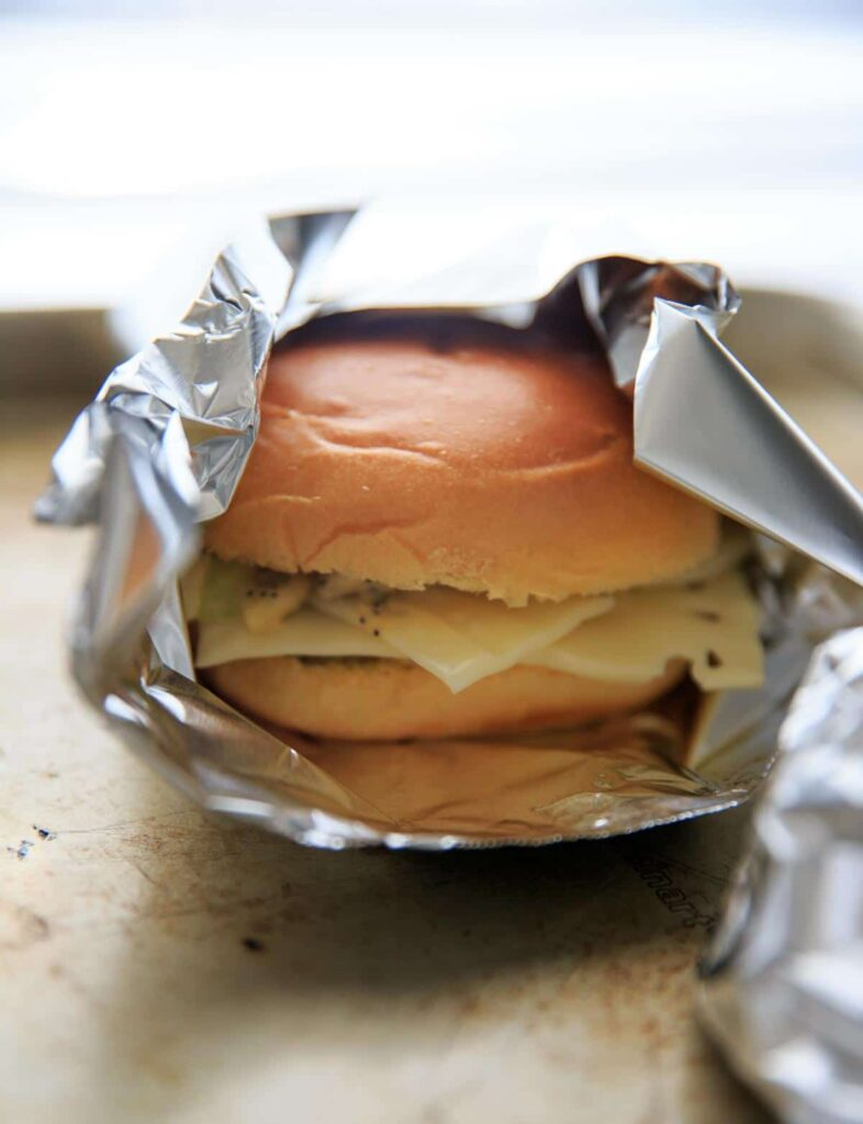 Ham-less Swiss Cheese Hot Slider Sandwiches before baking