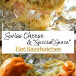 Oven-baked, foil-wrapped, ham-less Swiss Cheese Hot Slider Sandwiches! An easy vegetarian alternative for simple party food. The poppyseed, butter and onion sauce is the key! Great for tailgating, parties or other gatherings.
