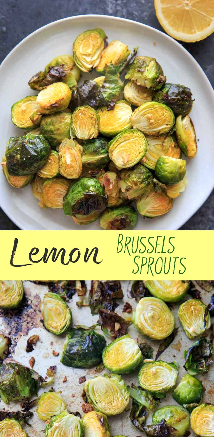 Lemony Brussels Sprouts are a wonderfully citrusy vegetable side dish. Serve on top of salads or with a meal for a fresh lemon pop of flavor! Naturally vegan and gluten-free.