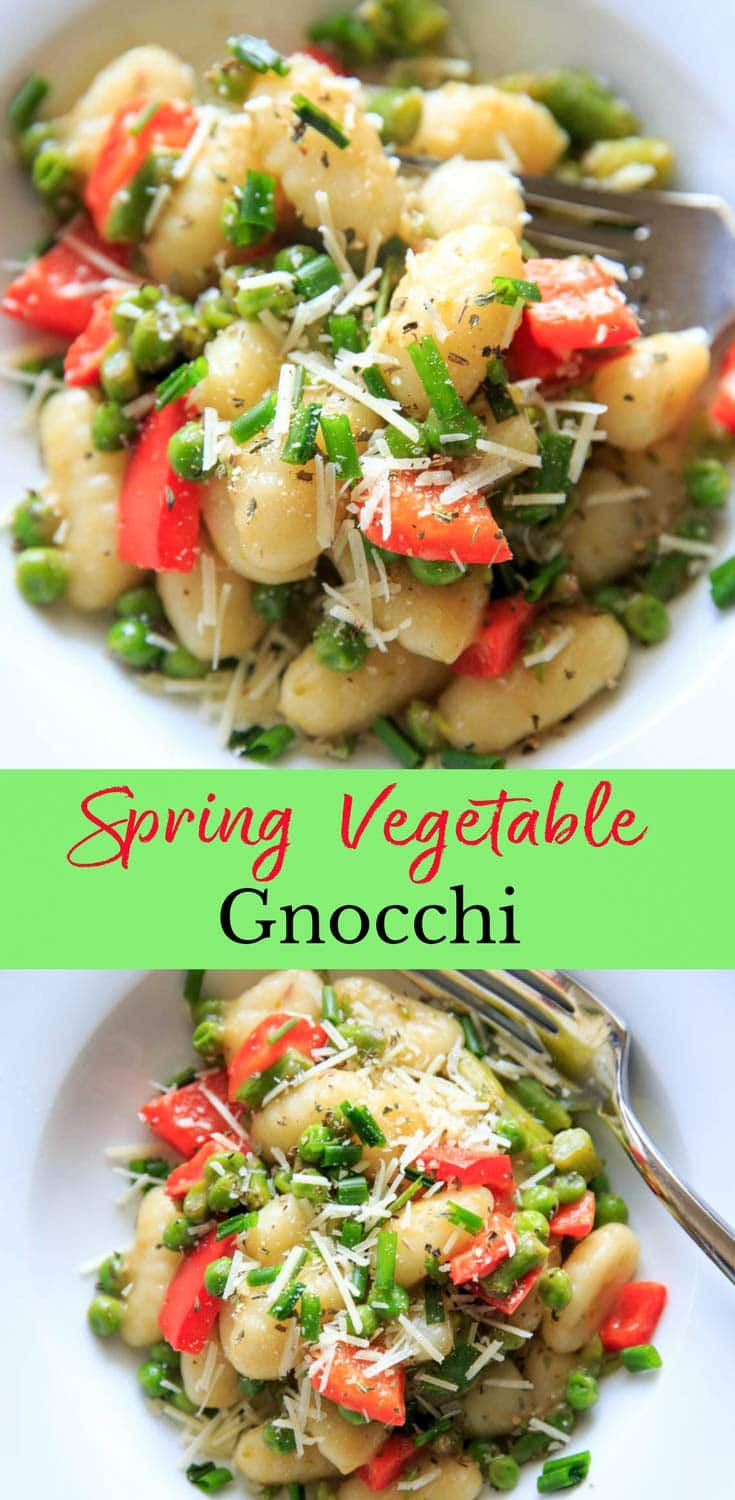 One-pot Spring Vegetable Gnocchi with asparagus, peas and herbs, ready in 15 minutes! Option to add a touch of parmesan cheese or leave off to keep it dairy-free! A delicious and fresh tasting pasta dish that's not too heavy, and loaded with veggies.